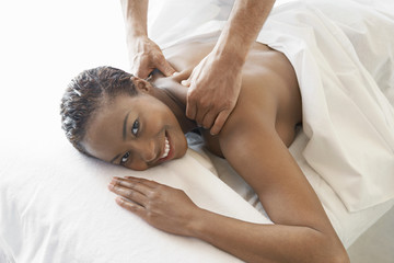 Woman Receiving a Massage, half length