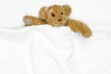 Teddy bear as a patient in bed poster