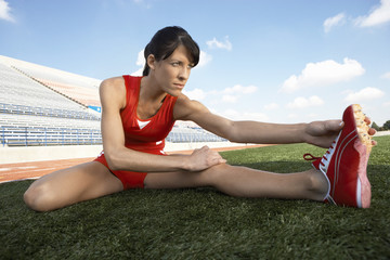 Track Athlete Stretching