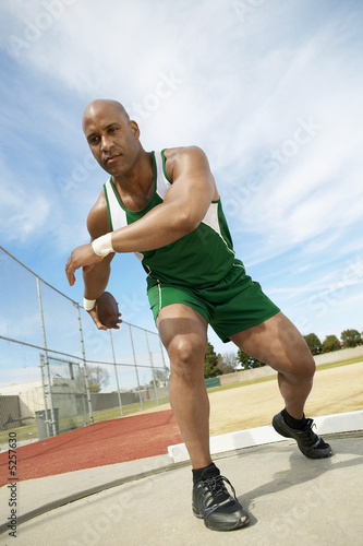 Discus Thrower Preparing to Throw