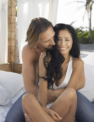 Couple on Bed Outside
