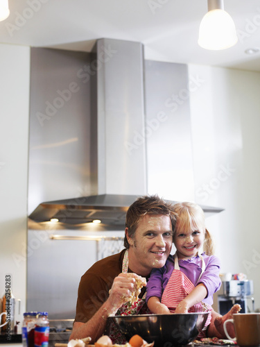 Messy Father and Daughter Baking