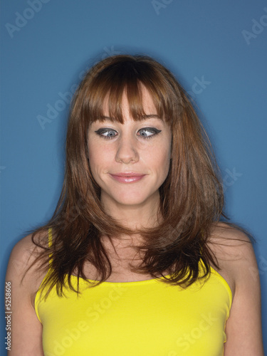 Cross eyed girl in studio head and shoulders
