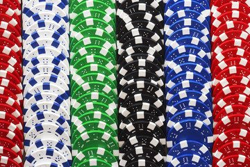 Rows of gambling chips, close-up