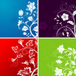 Set flower background, element for design, vector illustration