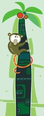brown monkey on palm tree