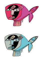 two thinking fishes