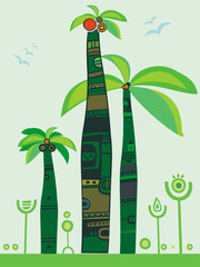 Jungle palm trees illustration.