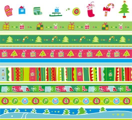 Colorful vector christmas pattern set