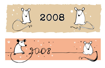2008 rats - illustration. Can be used as banners.