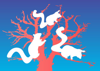 giant squirrel silhouettes in pink tree