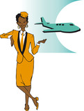 job series - stewardess / clipart poster