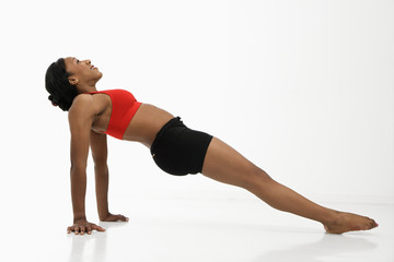 Woman in strengthening pose.