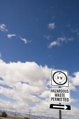 Hazardous waste road sign