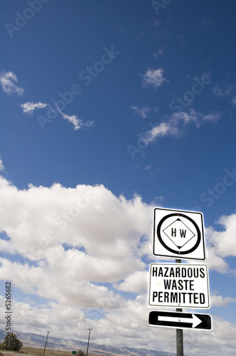 Hazardous waste road sign