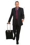 Businessman with travel luggage poster