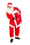 Santa Claus carrying bag of Christmas gifts poster