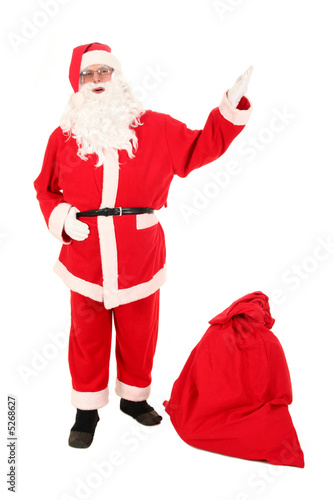 Santa Claus and bag of Christmas gifts