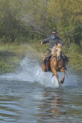 American cowboy charging into river