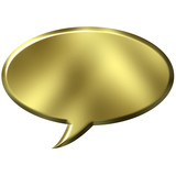 3D Golden Speech Bubble poster