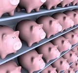 Piggies full of money on the shelf. Concept of economy. poster