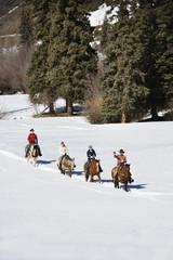 Group horseback riding in snow.