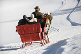 Horse-drawn sleigh ride. poster