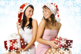 beauty christmas girls in red hat with box gift