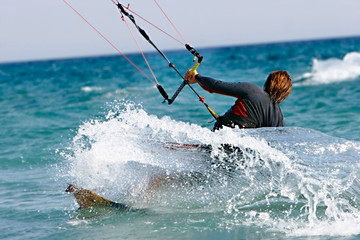 close up of kitesurfer