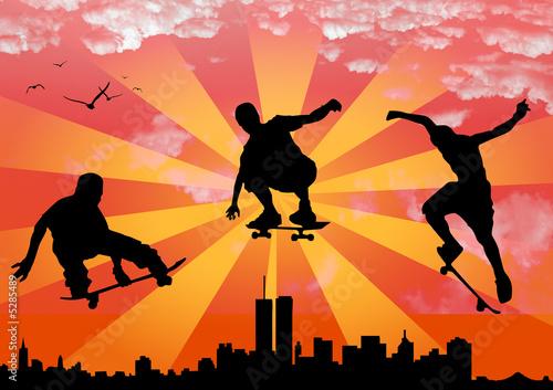 Plakat vector jumping skateboarder