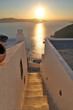 Santorini stairs and sun - Greece