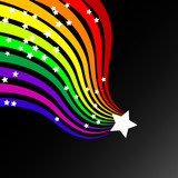 Colorful wavy / curvy abstract rainbows on a black background. poster