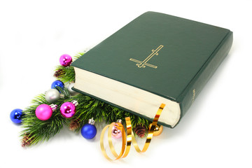Bible with xmas decor