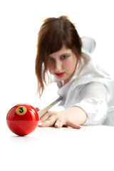 woman with cue and billiard ball