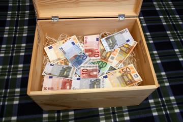 wooden box of money