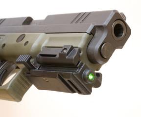 handgun and laser