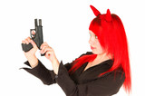 Redhead girl charging a gun isolated on white poster