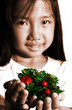 child with xmas decors