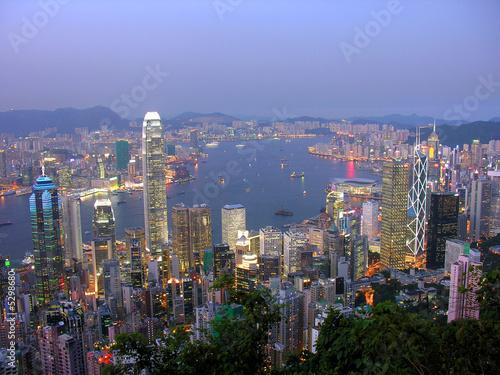 Poster Blick auf Hong Kong am abend