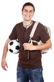 Young with soccer ball and backpack poster