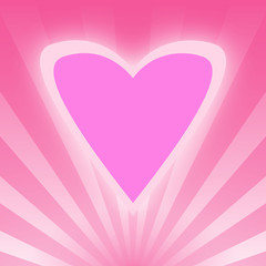 Pink Love Heart on Bright Pink Rays