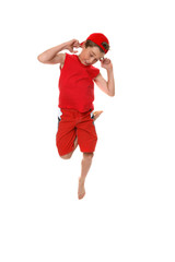 Funny face boy hopping