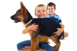 Boys And Their German Shepherd poster