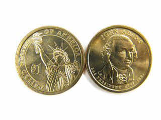 Isolated US 2007 One Dollar Coins