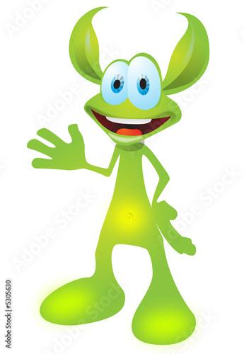 Animated green cartoon creature, funny