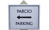 Sign Post for parking in Welsh Language poster