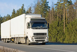 white blank tractor trailer truck of