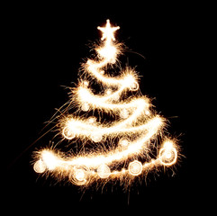 New year tree created from sparks