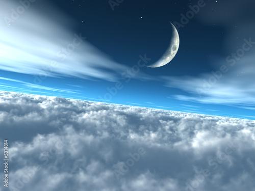 Ponad chmurami Niebiańskie niebo księżycowe