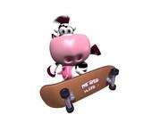 Vache en skateboard
